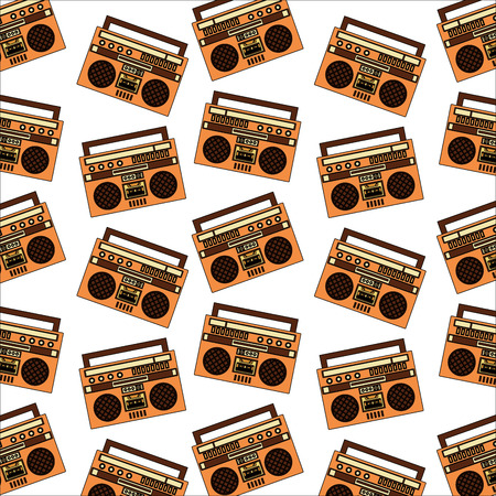 radio music retro style pattern vector illustration design