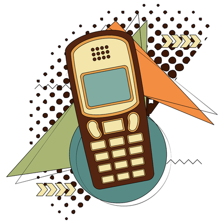 old cellphone retro style vector illustration design