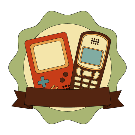 frame with game pad and cellphone retro style vector illustration design