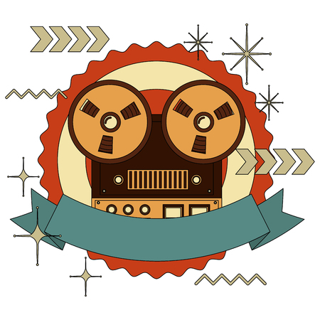 frame with old video camera retro style and ribbon vector illustration design