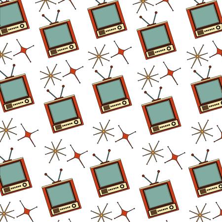 tvs old retro style pattern vector illustration design Ilustrace