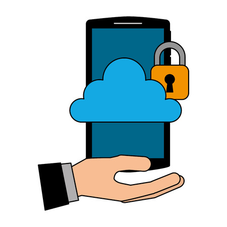 hand with smartphone and cloud computing isolated icon vector illustration design Foto de archivo - 102261837