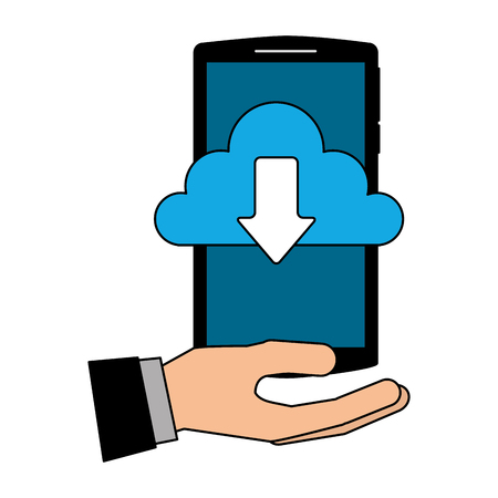 hand with smartphone and cloud computing isolated icon vector illustration design Ilustração