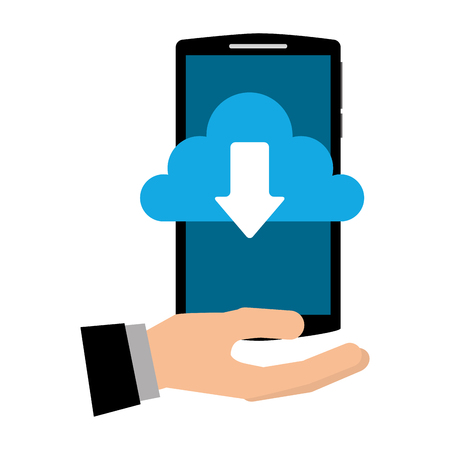 hand with smartphone and cloud computing isolated icon vector illustration design Çizim