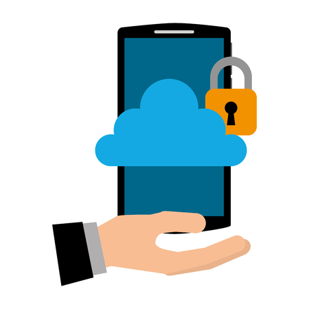hand with smartphone and cloud computing isolated icon vector illustration design Foto de archivo - 102261893