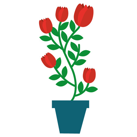 house plant in pot isolated icon vector illustration design