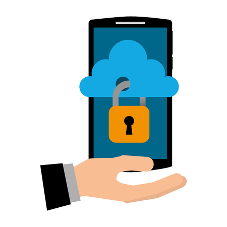 hand with smartphone and cloud computing isolated icon vector illustration design Foto de archivo - 102261928