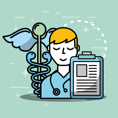 doctor patient report papers mental health care vector illustration Illustration