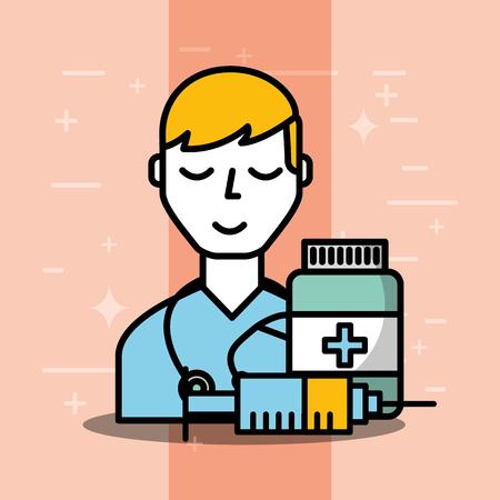 docteur, médicament, bouteille, seringue, santé mentale, soins, vecteur, illustration Vecteurs