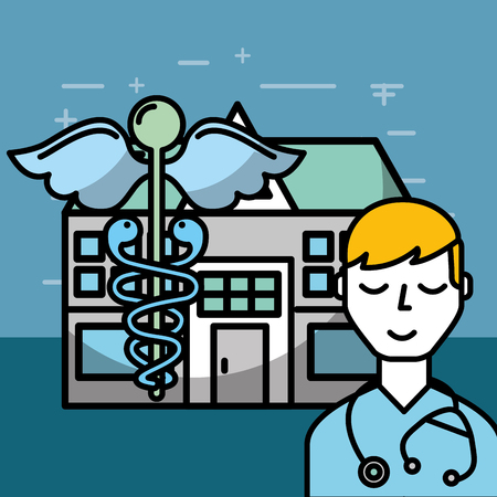 doctor stethoscope and hospital mental health care vector illustration