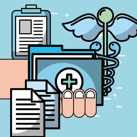 hand holding folder report patient mental health care vector illustration