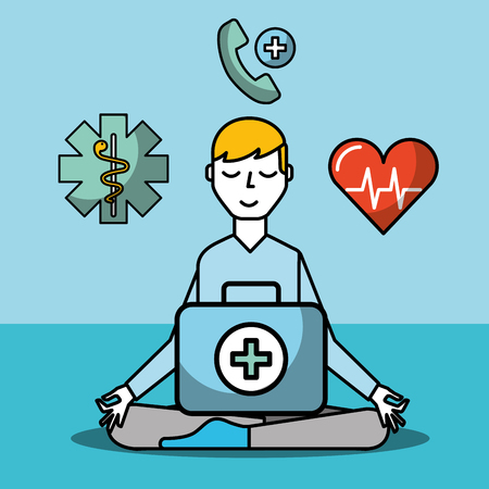 patient meditation and kit first aid mental health care vector illustration