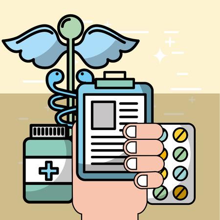 Mano que sostiene las píldoras del portapapeles y la ilustración de vector de atención de salud mental de medicamentos