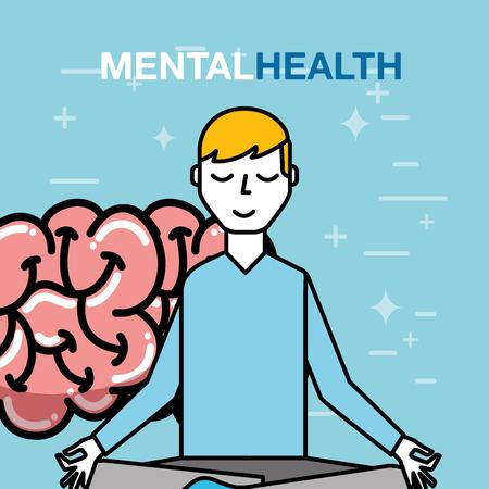 patient meditating brain mental health care vector illustration