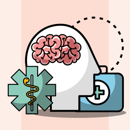 silhouette head brain kit first aid mental health care vector illustration