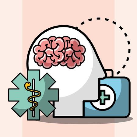 silhouette head brain kit first aid mental health care vector illustration Stok Fotoğraf - 102262002