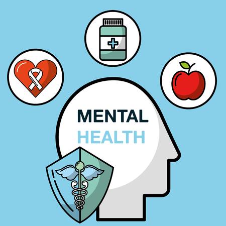 silhouette head medicine diet mental health care vector illustration