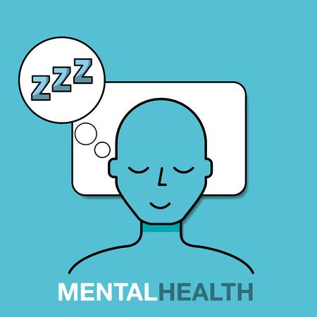 patient resting sleeping mental health care vector illustration