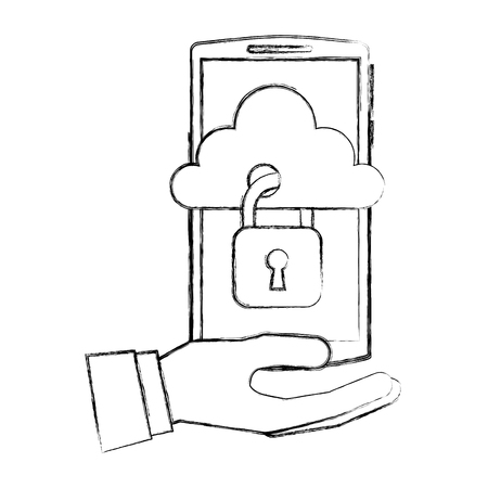 hand with smartphone and cloud computing isolated icon vector illustration design Illustration