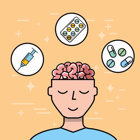 patient brain syringe pills capsule mental health care vector illustration