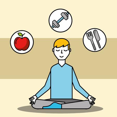 patient sitting meditating mental health care vector illustration Stock Illustratie