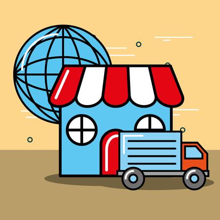 market truck world logistics and delivery  vector illustration   Illustration