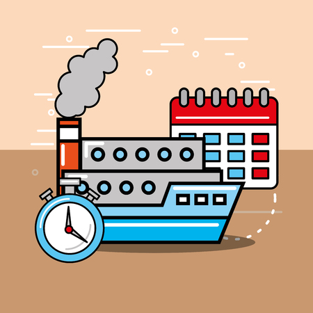 container ship calendar and chronometer logistics and delivery  vector illustration