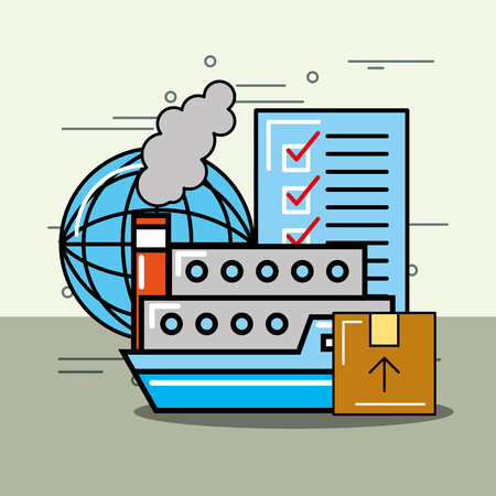 container ship cardboard box world and checklist logistics and delivery  vector illustration