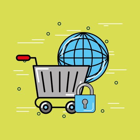 world shopping cart security logistics and delivery  vector illustration