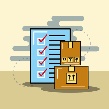 cardboard boxes and checklist logistics and delivery vector illustration