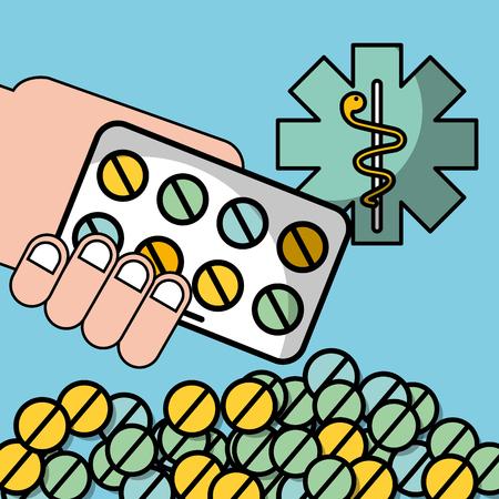 hand holding packaging pills mental health care vector illustration Illustration