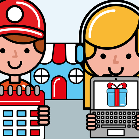 workers with calendar and laptop market logistics and delivery  vector illustration   Ilustração