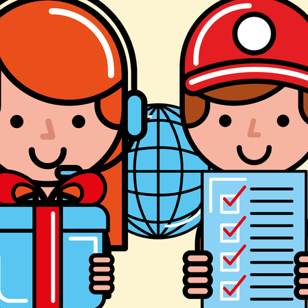 workers gift checklist world logistics and delivery  vector illustration   Illustration