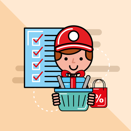 man courier with basket gift checklist logistics and delivery  vector illustration
