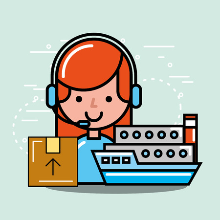 operator girl ship and cardboard box logistics and delivery service vector illustration