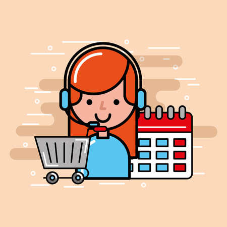operator girl shopping cart and calendar logistics and delivery service  vector illustration   Иллюстрация