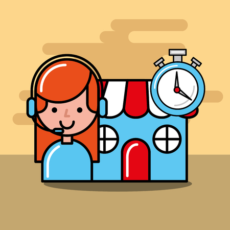 operator girl market chronometer logistics and delivery service  vector illustration