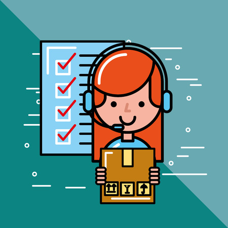 operator girl cardboard box and checklist logistics and delivery service  vector illustration