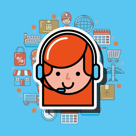 operator girl with headset logistics and delivery service  vector illustration