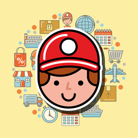 delivery man avatar logistic service  vector illustration    イラスト・ベクター素材
