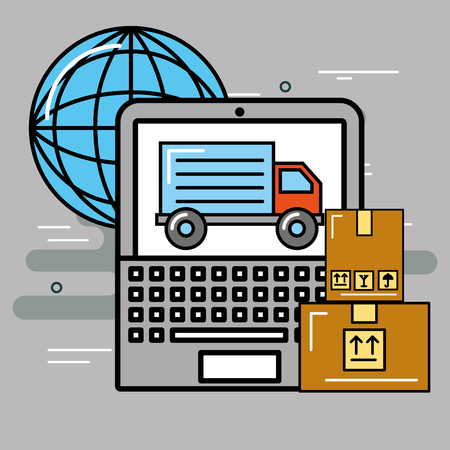 logistics and delivery laptop online order truck world  vector illustration
