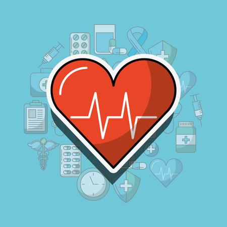 heartbeat cardio medicine health care vector illustration