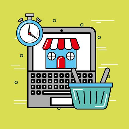 laptop shopping online market logistics and delivery  vector illustration Stok Fotoğraf - 102262121