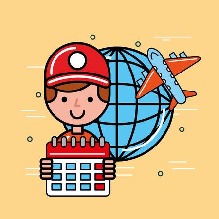 delivery man logistic service world plane and calendar  vector illustration