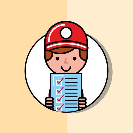 delivery man holding checklist logistic service  vector illustration   Illustration