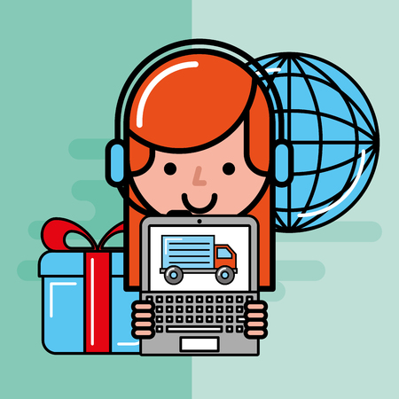 operator girl with laptop truck gift world logistics and delivery service  vector illustration   Illustration
