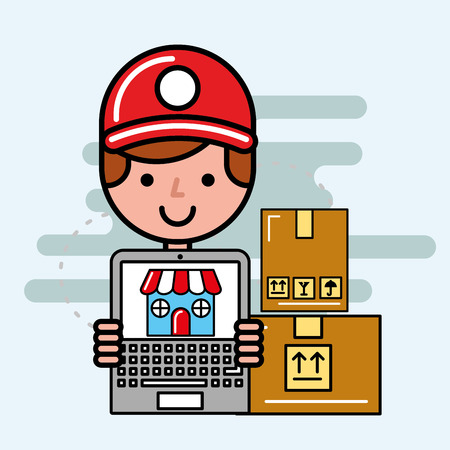 delivery man laptop market online ordering logistic service  vector illustration   Illustration