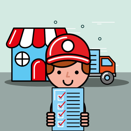 delivery man holdng checklist market truck logistic service  vector illustration