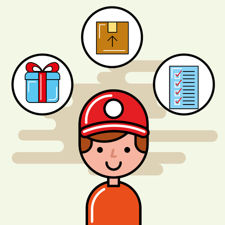 delivery man cardboard box gift and checklist logistic service  vector illustration