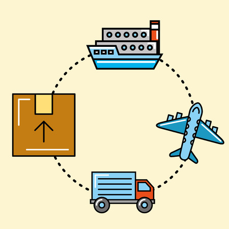 logistics and delivery ship airplane truck package  vector illustration   Illustration